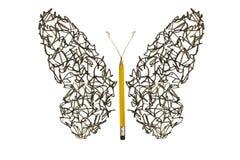 O garrancho do esboço da pena fez a borboleta Fotografia de Stock Royalty Free