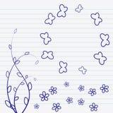 O garrancho floresce o desenho em uma ilustração do caderno Imagens de Stock Royalty Free