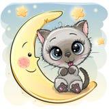 O gatinho dos desenhos animados está sentando-se na lua ilustração do vetor