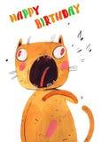 O gato da aquarela canta Fotografia de Stock Royalty Free