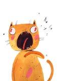 O gato da aquarela canta, ilustração do vetor Foto de Stock Royalty Free
