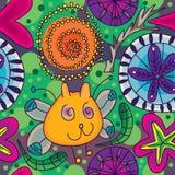 O gato da borboleta floresce Pattern_eps sem emenda Fotografia de Stock