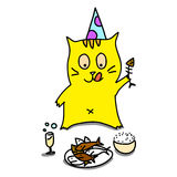 O gato desenhado mão dos desenhos animados relaxa jantando o partido Foto de Stock Royalty Free