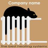 O gato dorme logotipo dos sistemas de aquecimento do radiador no melhor Imagem de Stock Royalty Free