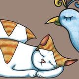 O gato e o pássaro estão dormindo Imagem de Stock