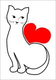 O gato está esperando seu amor Foto de Stock Royalty Free