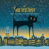 O gato está no telhado Foto de Stock Royalty Free