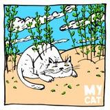 O gato excêntrico ama mascarar nos arbustos Bom para cópias e outras publicações nas crianças e em edições não únicas ilustração stock