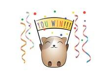 O gato feliz exulta a vitória para assiná-lo para ganhar imagem de stock