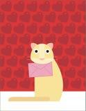 O gato guardara uma carta de amor Fotografia de Stock Royalty Free