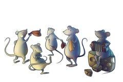 O gato ido da casa, ratos começa dançar Foto de Stock Royalty Free