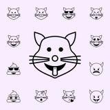o gato mostra o ?cone da l?ngua Grupo universal dos ?cones de Emoji para a Web e o m?bil ilustração stock