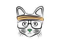 O gato nos vidros Imagens de Stock