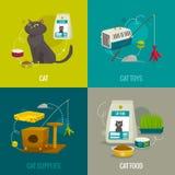 O gato objeta composições quadradas, ilustração dos desenhos animados do vetor, conceitos dos cuidados dos animais de estimação Imagem de Stock Royalty Free