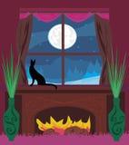 O gato olha para fora a janela Imagens de Stock