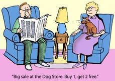 O gato preocupou-se sobre cães no agregado familiar Imagem de Stock