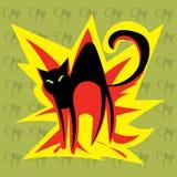 O gato preto do fogo Fotos de Stock Royalty Free