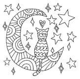 O gato senta-se na linha ilustração do preto da lua Imagem de Stock