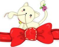 O gato Sew a fita Fotografia de Stock Royalty Free