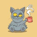 O gato sonolento bebe o café na manhã Imagem de Stock Royalty Free