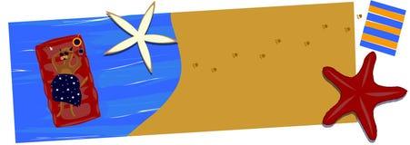 O gato tem um resto na imagem do vetor do mar ilustração stock