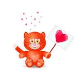 O gato vermelho com coração canta Imagem de Stock