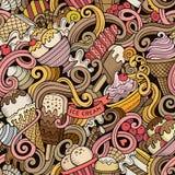 O gelado desenhado à mão dos desenhos animados rabisca o teste padrão sem emenda Fotos de Stock