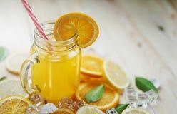 O gelo alaranjado de Juice Slices Citrus Lemon Cube deixa shell do mar em W Foto de Stock