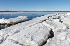 O gelo marinho é destruído na mola Fotografia de Stock Royalty Free
