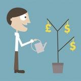 O gerente cresce uma planta de dinheiro Fotos de Stock Royalty Free