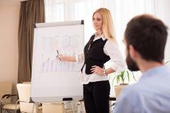 O gerente da mulher fala sobre os objetivos principais da empresa Foto de Stock