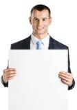 O gerente entrega o espaço branco da cópia em papel Imagens de Stock Royalty Free