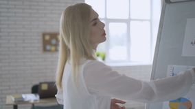 O gerente fêmea apresenta o plano novo do projeto aos colegas no encontro, explicando ideias no flipchart aos colegas de trabalho video estoque