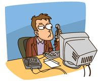 O gerente fala no telefone Fotografia de Stock Royalty Free
