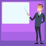 O gerente faz uma apresentação do projeto, lugar para o texto Fotos de Stock Royalty Free