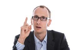 O gerente isolado no terno tem uma ideia nova. Fotografia de Stock Royalty Free