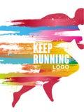 O gesign running do logotipo Keep, molde colorido do cartaz para o evento desportivo, maratona, campeonato, pode ser usado para o ilustração do vetor