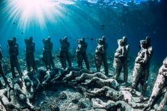 o Gili梅诺,印度尼西亚 有水下的雕象的妇女自由的潜水者 r 库存照片