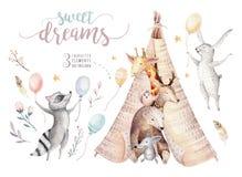 O girafa bonito do bebê, o rato e o urso animal do berçário dos cervos, o guaxinim e o coelho isolou a ilustração para crianças w ilustração stock