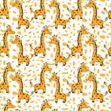 O girafa bonito dos desenhos animados no fundo alaranjado do ponto, vector o teste padrão sem emenda, textura decorativa, ornamen Fotos de Stock