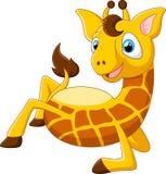 O girafa dos desenhos animados encontra-se para baixo Imagens de Stock