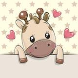 O girafa dos desenhos animados está guardando um cartaz em um fundo das estrelas ilustração do vetor