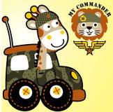 O girafa e o leão são soldado ilustração royalty free