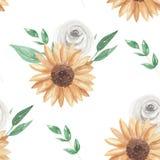 O girassol sae aquarela do teste padrão sem emenda as rosas brancas folha verde flor pintada floral ilustração stock