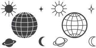 O globo cercado por planetas ilustração stock