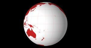 O globo contínuo de giro centrou-se no equador com linhas da longitude e da latitude video estoque