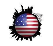 O globo da bandeira dos EUA da skyline de New York Foto de Stock Royalty Free