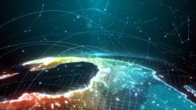 O globo de Digitas é apresentado sob a forma de um holograma que emite-se um efeito da luz; informação de tráfego fotografia de stock