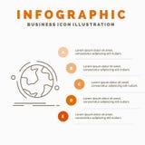 o globo, mundo, descobre, conex?o, molde de Infographics da rede para o Web site e apresenta??o Linha ?cone cinzento com laranja ilustração royalty free