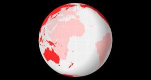O globo transparente de giro centrou-se no equador com linhas da longitude e da latitude filme